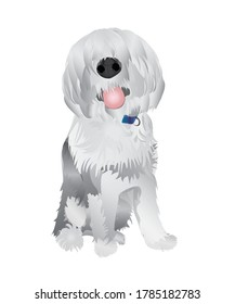 Happy dog with his tongue out. A Vector, isolated illustration