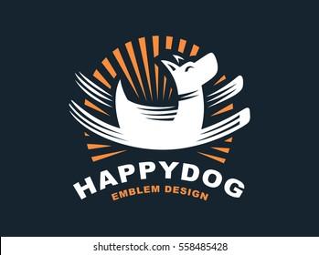 Happy dog logo - vector illustration, emblem design on dark background.