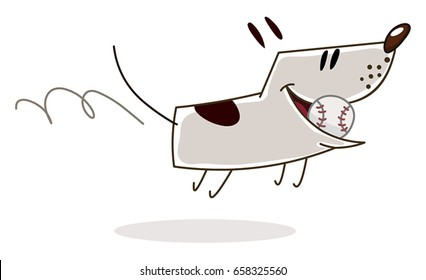 Happy dog running with a baseball ball in mouth