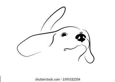 Happy dog with tail held high. Optimism, positive attitude. Black linear sketch on white background. Vector illustration