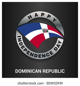 Happy Dominican Republic independence day Flag metal badge - National Day silver border - Vector illustration