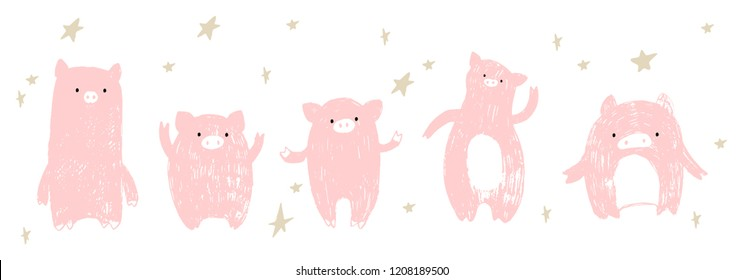 Happy doodle hand drawn pigs in different postures. Isolated on white background. Set of vector pink pigs. Chinese New Year symbol