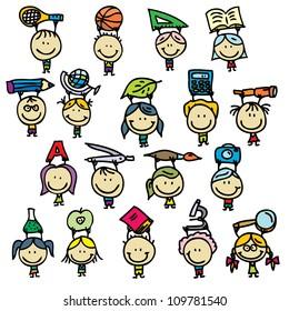 Happy doodle kids go back to school