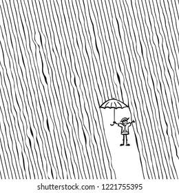 Happy doodle man with umbrella under rain, Striped background
