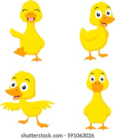 Happy duck cartoon collection set