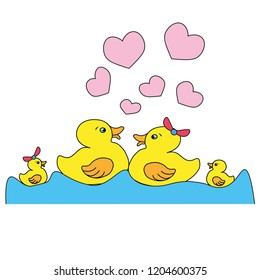Happy duck family.