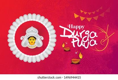 Happy Durga Puja Festival Celebration Background Template Design with Goddess Durga Face Illustration