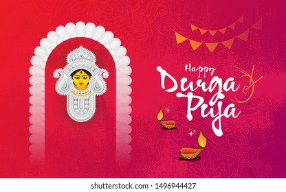 Happy Durga Puja Festival Celebration Greeting Background Template Design with Goddess Durga Face Illustration