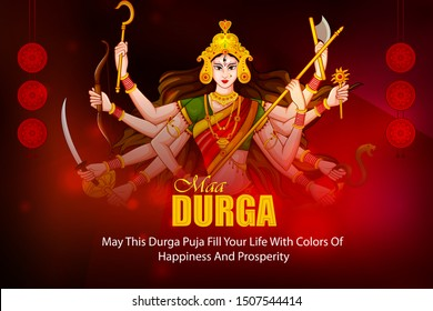 Happy Durga Puja festival of India holiday background for Dussehra and Navratri. Vector illustration