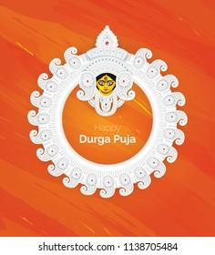 Happy Durga Puja Festival Template Design with Creative Goddess Durga Face Illustration