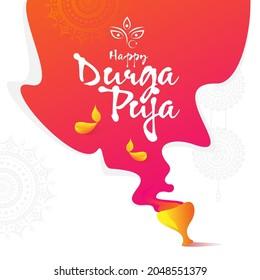 Happy Durga Puja Greeting Background Template Design Vector Illustration