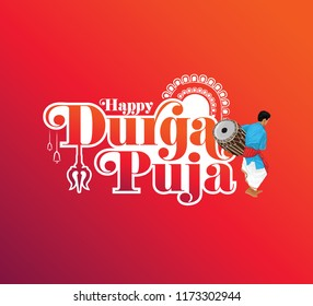 Happy Durga Puja Text Typography Template Design Vector Illustration