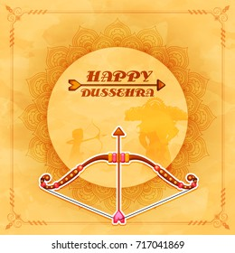 Happy Dussehra background decorated with ornamental floral design and paper bow-arrow.