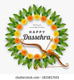 Happy Dussehra banner. Bow and arrow with flower wreath. Hindu Navratri festival, Vijayadashami holiday. Vector illustration.