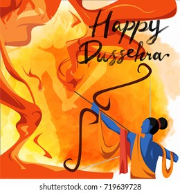 Happy Dussehra celebration card for Indian Festival. Lord Rama taking aim with bow and arrow, killing Ravana. Holiday watercolor background.