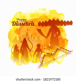 Happy Dussehra Celebration Poster Design with Silhouette Demon Ravana, Lord Rama, Laxman, Hanuman and Yellow Watercolor Effect on White Background.