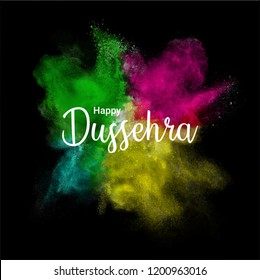 Happy dussehra color splash on background template, poster and wallpaper design.