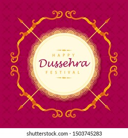 Happy Dussehra festival card with creative design