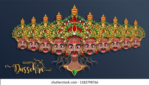 Happy Dussehra festival card with gold  Raavana ten heads patterned and crystals on paper color Background.
