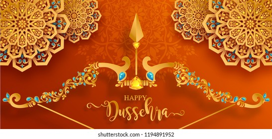 Happy Dussehra festival card with gold arrow patterned and crystals on paper color Background.