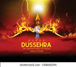 Happy Dussehra festival card with gold  bow and arrow fire festival of India background