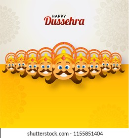 Happy Dussehra festival celebration background with smiling face of Demon Ravana with his ten heads on floral ornamental background. Can be used as greeting card design.