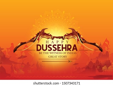 Happy Dussehra festival celebration of india illustration of Lord Rama and Ravana in Dussehra hindi text Navratri festival