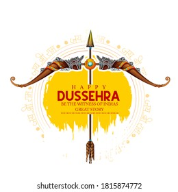 Happy Dussehra festival of India, with bow and quiver for vijayadashami