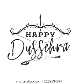 Happy Dussehra. Festival of India. Vector typography for banner, logo design.