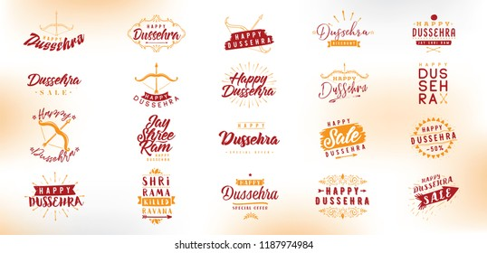 Happy Dussehra. Festival of India. Vector typography set for banner, logo design.
