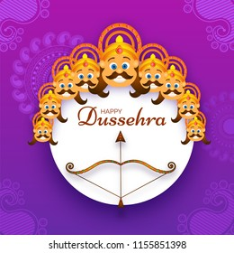 Happy Dussehra festival poster or template design with illustration of Demon Ravana face with his ten heads and brown Bow-Arrow on ornamental purple background.