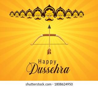 Happy Dussehra festival poster or templet design with illustration