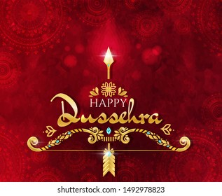 Happy Dussehra greeting card design in a deep textured red background with gold lettering and decoration celebrating the major Hindu festival at the end of Navratri, vector illustration