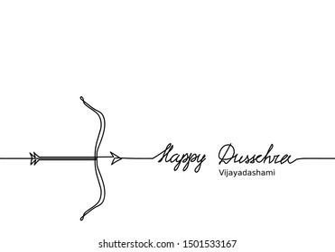 Happy Dussehra hand drawing and bow with arrow. Black and white simple legend. Dussehra festival banner, background.