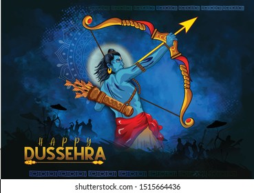 Happy dussehra illustration of Bow and Arrow of Rama in festival of India background