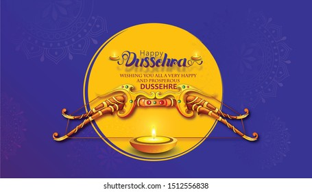 happy Dussehra illustration of Lord Rama with bow arrow killing Ravan Dussehra festival of India poster banner header with hindi text