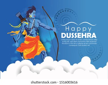 Happy dussehra illustration of Ravana with ten heads for Navratri festival of India poster for Dussehra
