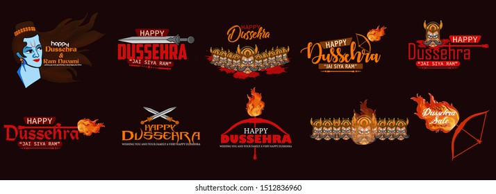 Happy Dussehra indian festival calligraphy text illustrations. Indian navaratri festival with bow and arrow. Badges, Greeting Cards, Poster, Banner, Sale Vector,Illustraion set.
