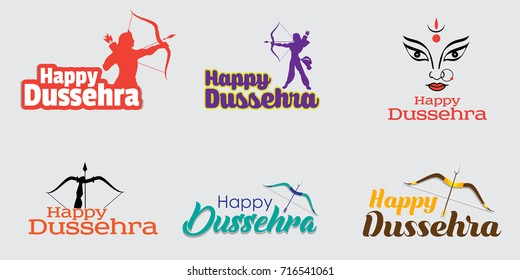Happy Dussehra indian festival calligraphy text illustrations. (Translation: Happy Dussehra) Indian navaratri festival with bow and arrow.