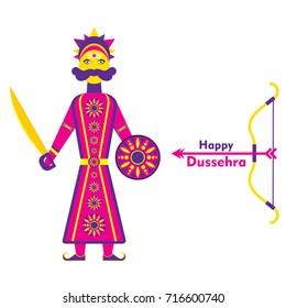happy dussehra poster design, ravaan stand with sword