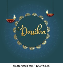 Happy dussehra poster, wallpaper and card design illustration with diya design.