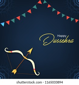 Happy dussehra poster, wallpaper design with bow and arrow. vector illustration.
