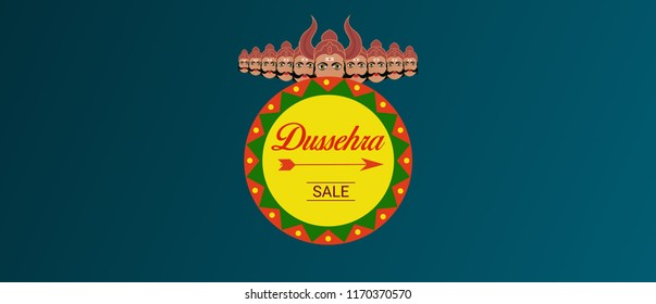 Happy dussehra sale template with raavana. Vector banner and poster design for dussehra.
