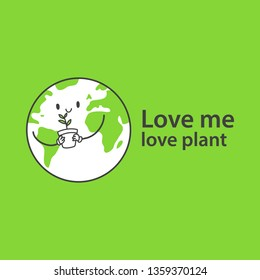 happy earth character with sapling, simple and clean line vector illustration