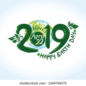 Happy Earth Day 2019. April 22. International Day of Earth. Painted planet and handwritten template. Vector illustration.