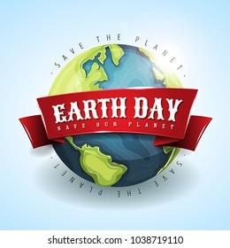 Happy Earth Day Banner April 22/ Illustration of a happy earth day banner, for environment safety holiday celebration on april