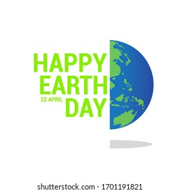 Happy Earth Day banner with a flat earth icon