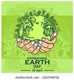Happy Earth Day, banner illustration