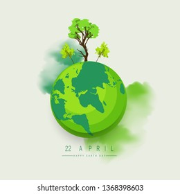 Happy Earth Day Banner\u002F Illustration of a happy earth day banner, for environment safety celebration - Vector