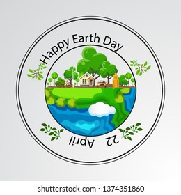 Happy Earth Day Banner/ Illustration of a happy earth day banner, for environment safety celebration - Vector